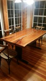 Front view of live-edge cherry table