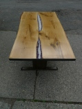 Front view of live-edge white oak table