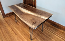 Side view of a live-edge walnut table